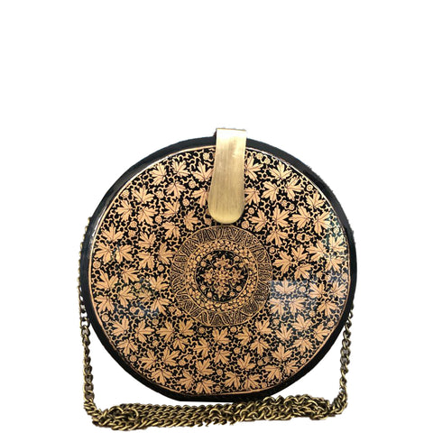 The Butterfly, Round Wooden Clutch