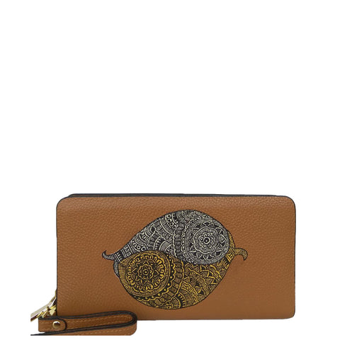 Flowers (Peach) Wooden Clutch