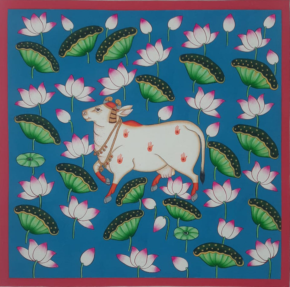 Cow and a lotus pond, PICHWAI PAINTING BY SHEHZAAD ALI SHERANI