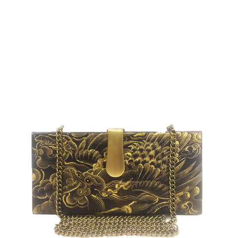 FLOWERS, Rectangle wood clutch