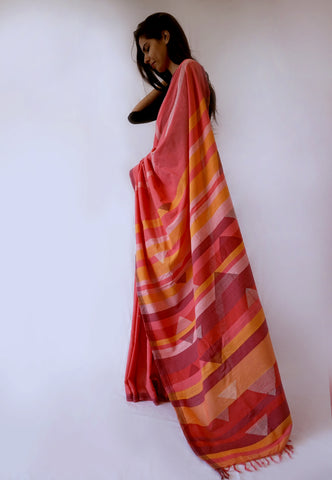 RED LINE - Black White Handwoven Cotton Saree