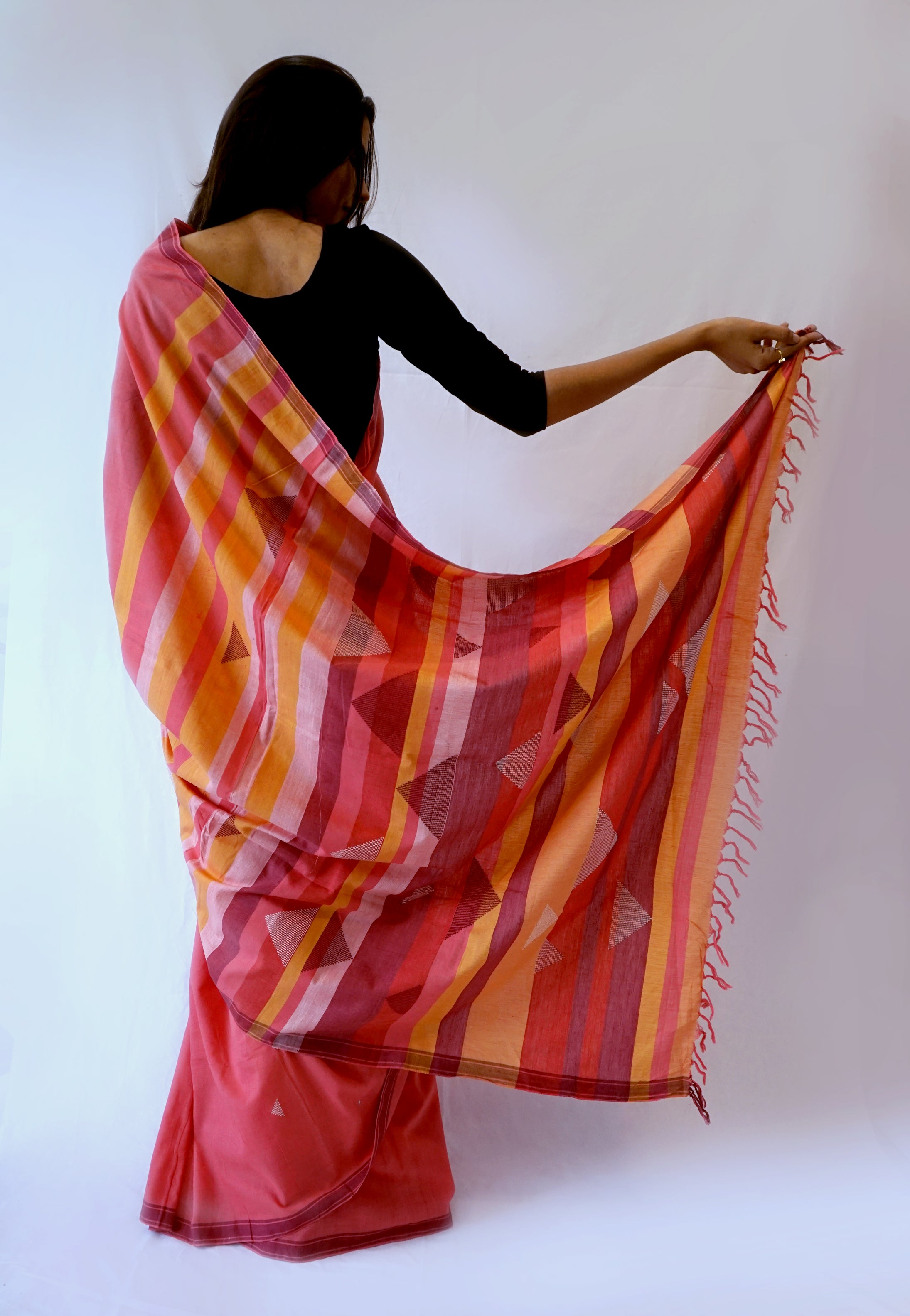 TRIANGLE SAREE -Pink, Orange, Maroon Handwoven Cotton Saree