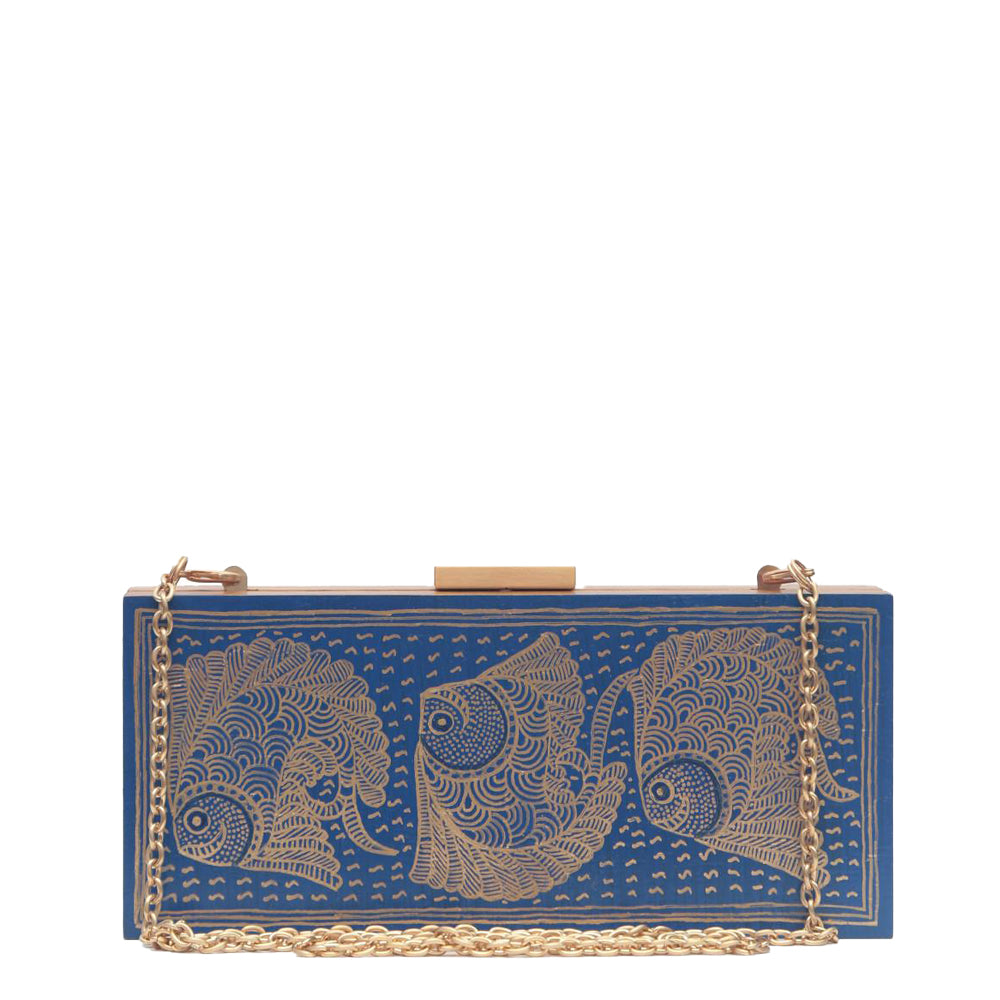 The Fish, Blue Wooden Clutch