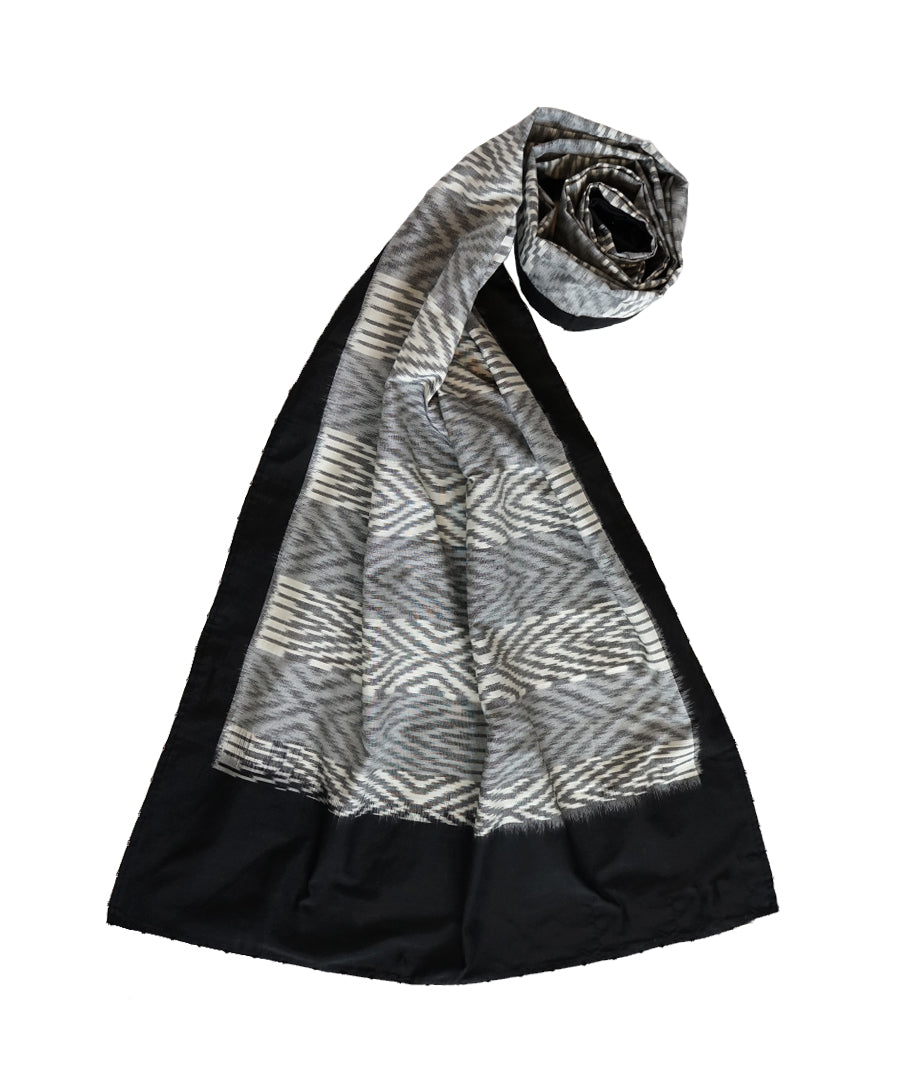 ABSTRACT-  WHITE/BLACK Handwoven Cotton/Silk STOLE