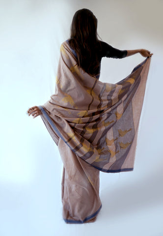 FLYING CRANE- Brown, Grey Handwoven Cotton Saree