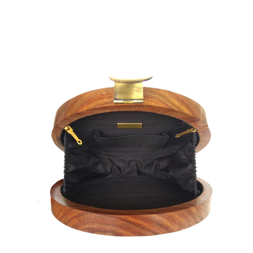 Chinar Leaves, black and gold round wood clutch