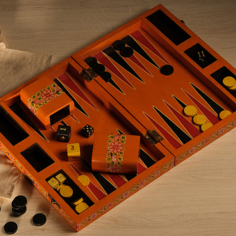 Backgammon, handpainted in Ganjifa art style