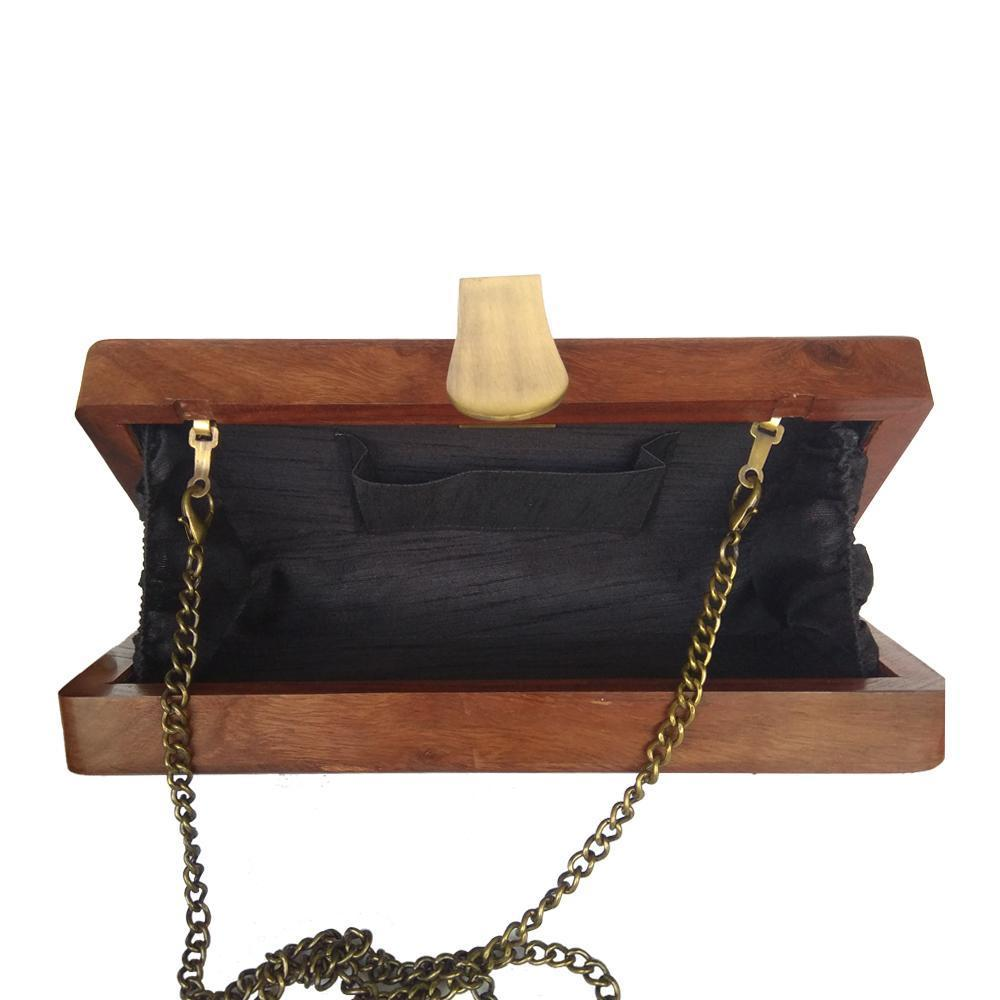 Be Like Lotus, rectangle wood clutch
