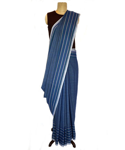 BADI BUTI-   Blue Handwoven Cotton Saree