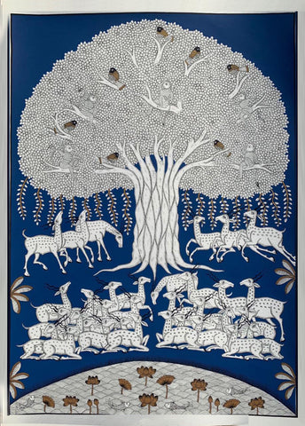 Tree of Life, Phad painting by Kalyan Joshi (Blue and white)