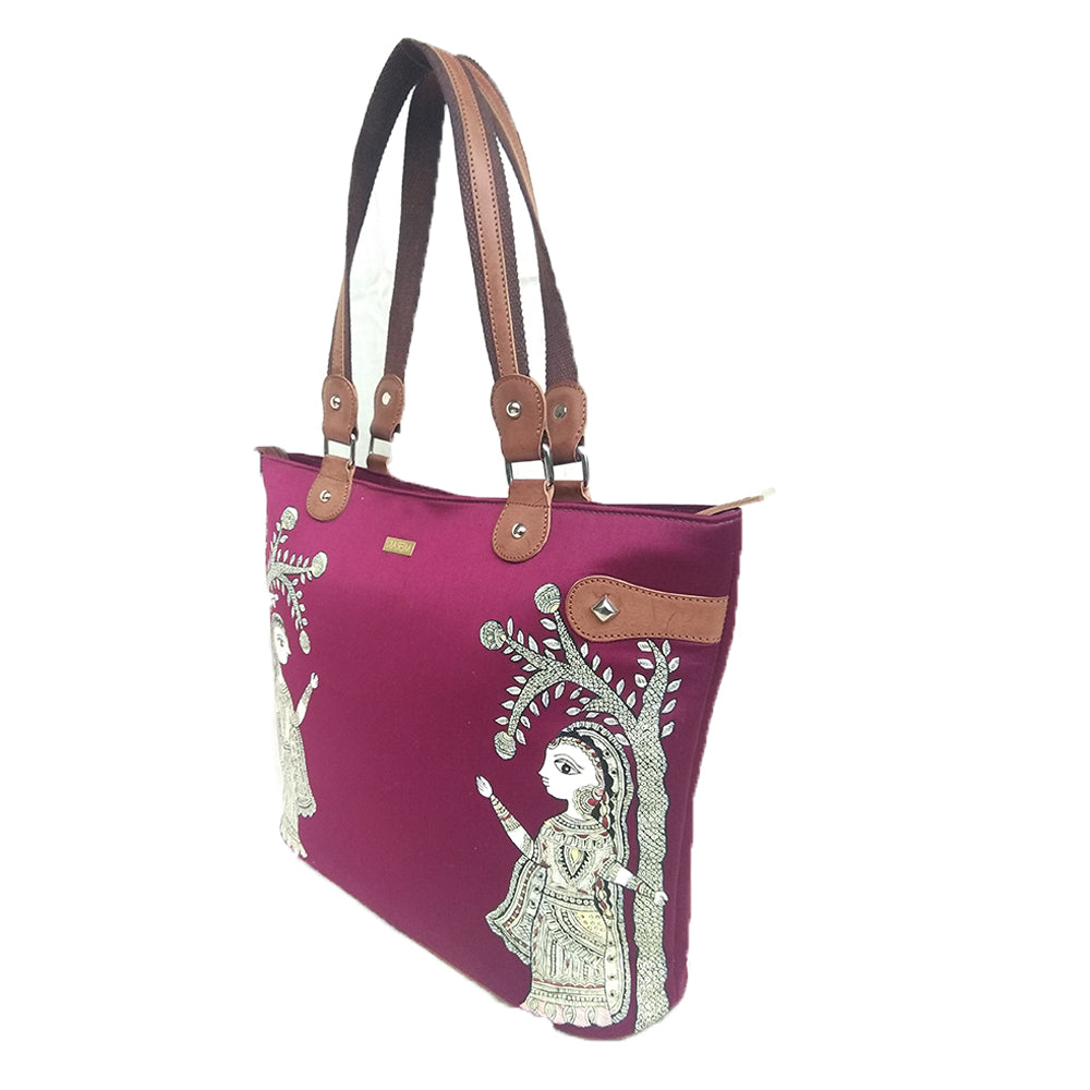 A stroll through the spoken forest, Maroon Vegan Laptop Bag/Tote