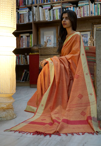 PEEPAL LEAF-  Grey and orange Handwoven Cotton Saree
