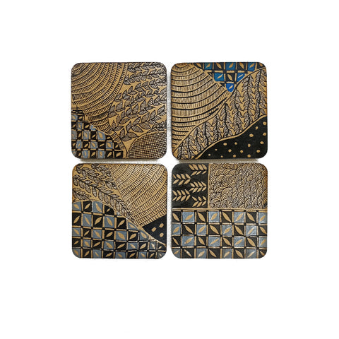 Patterns in black and blue, Madhubani handpainted coasters
