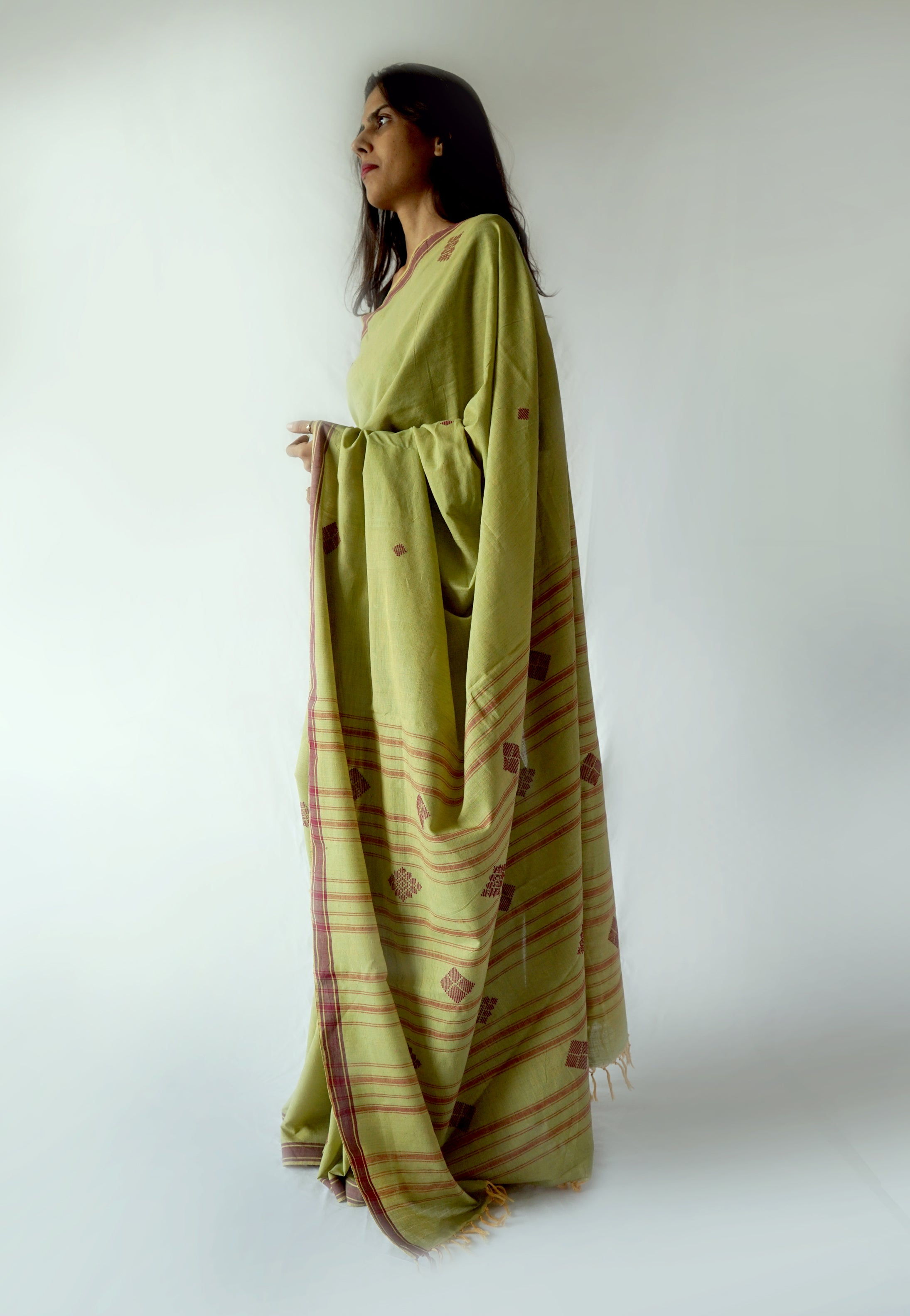 Green and Maroon Handwoven Cotton Saree