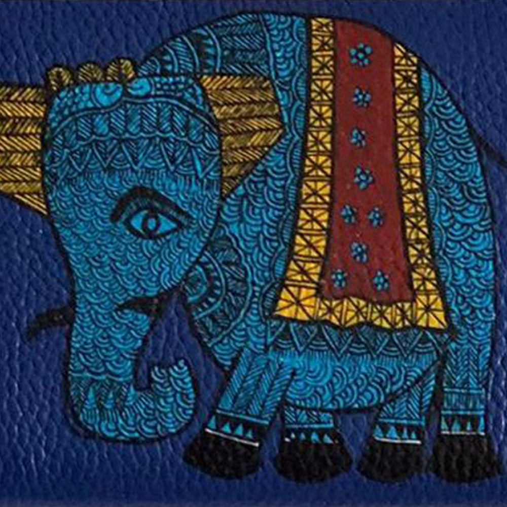 The Elephant, Top Grain Leather Blue Wallet