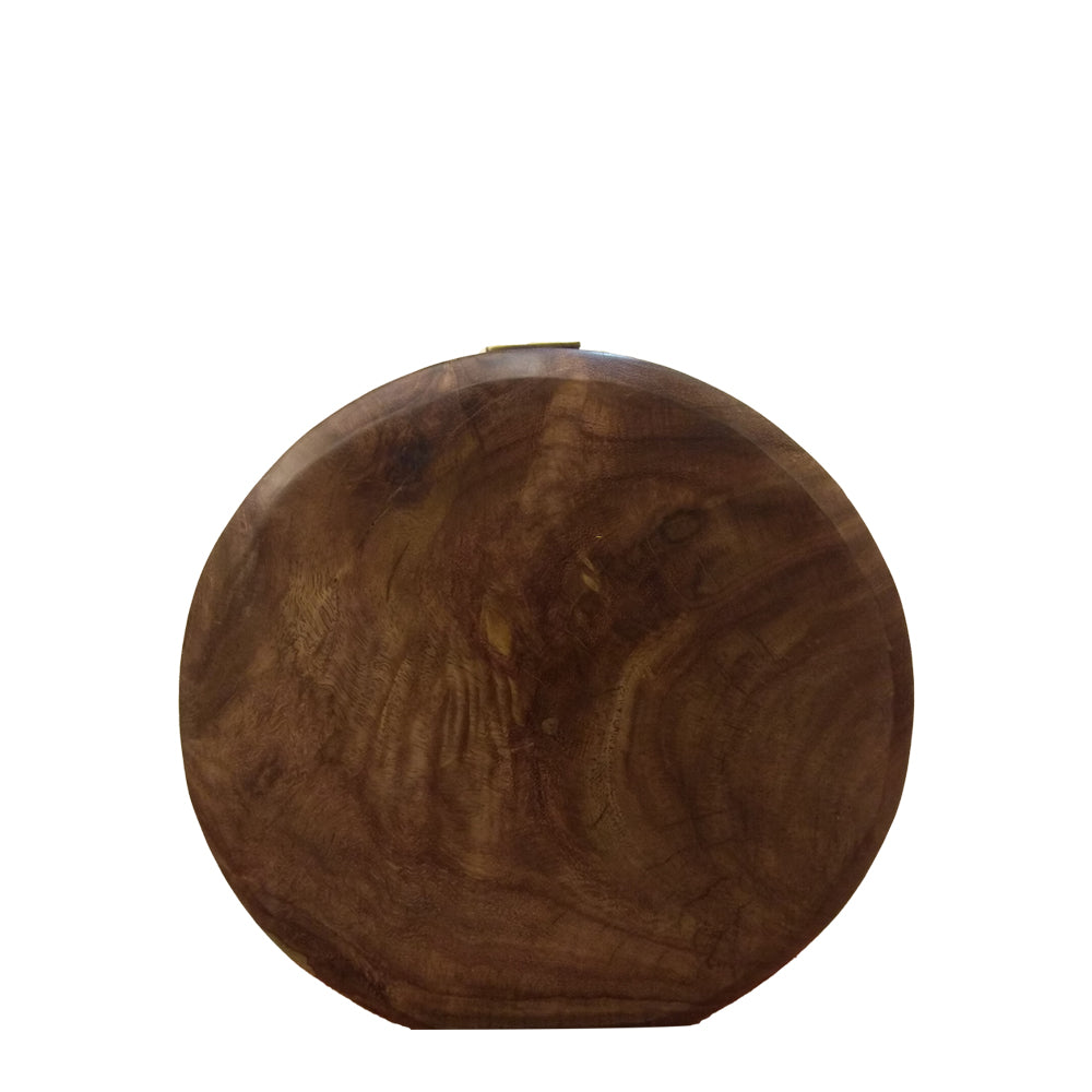 CHINAR LEAVES , ROUND WOODEN CLUTCH
