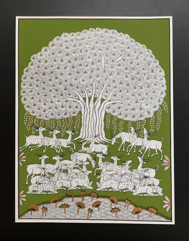 Tree of Life, Phad painting by Kalyan Joshi (Green and white)