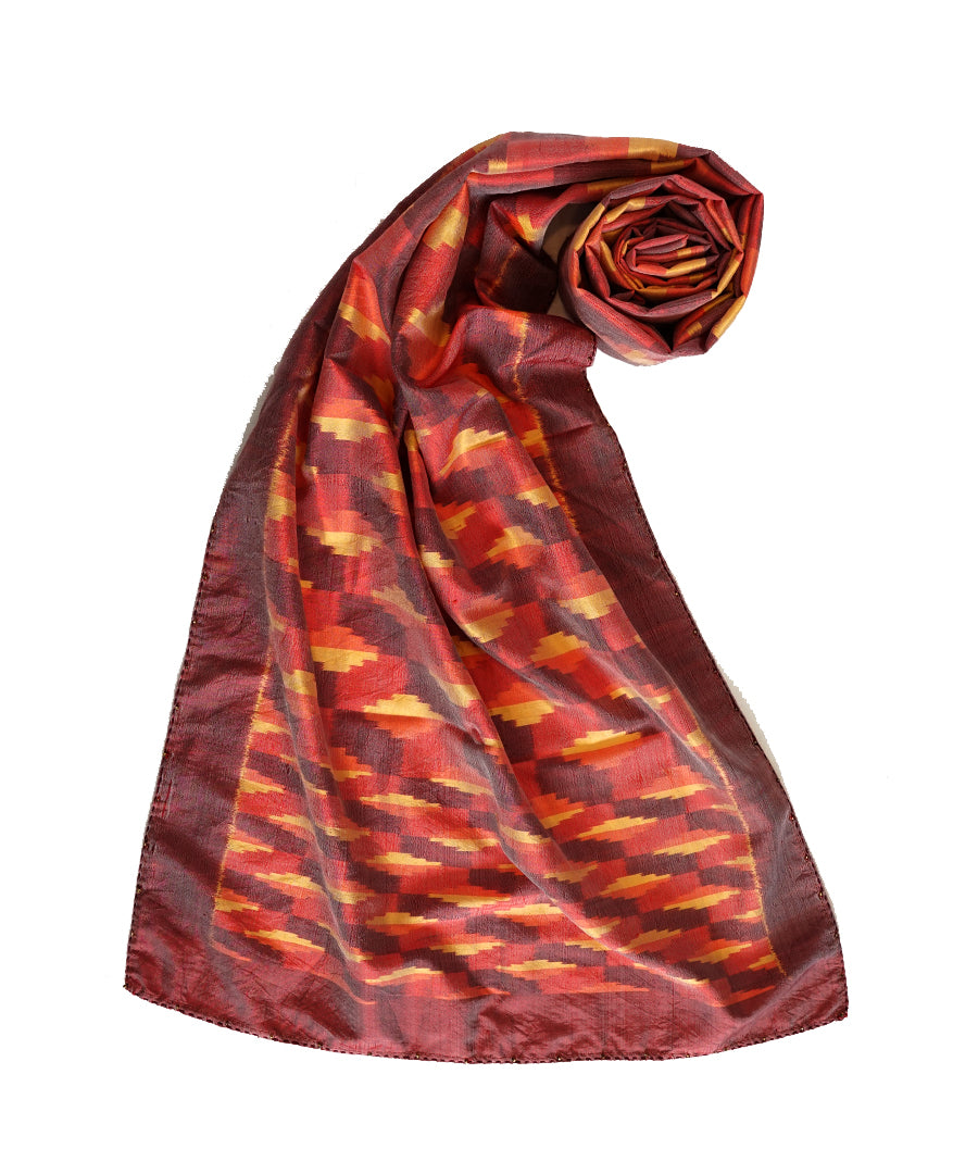 3D - ORANGE/RED Handwoven SILK STOLE