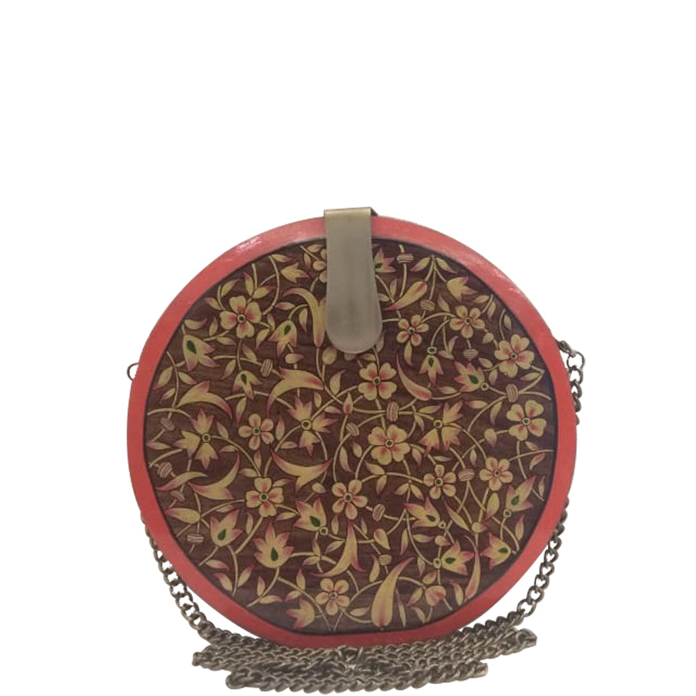 Flowers, yellow round wood clutch
