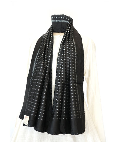 DOTS - BLACK Handwoven SILK STOLE