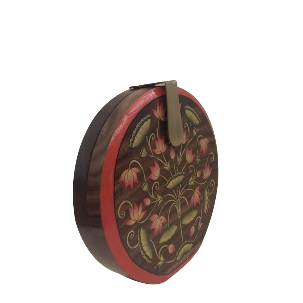 Be like Lotus , light brown round wood clutch