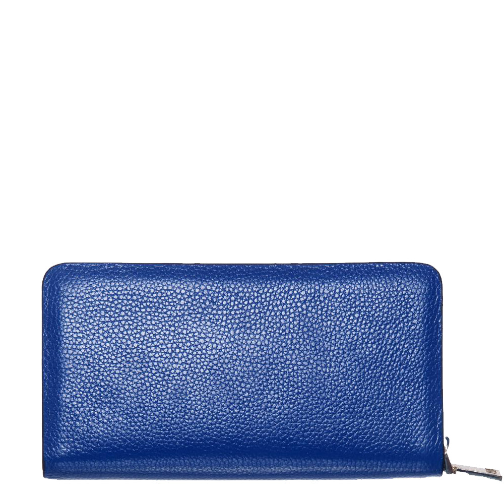 Flowers, Blue Top Grain Leather Wallet