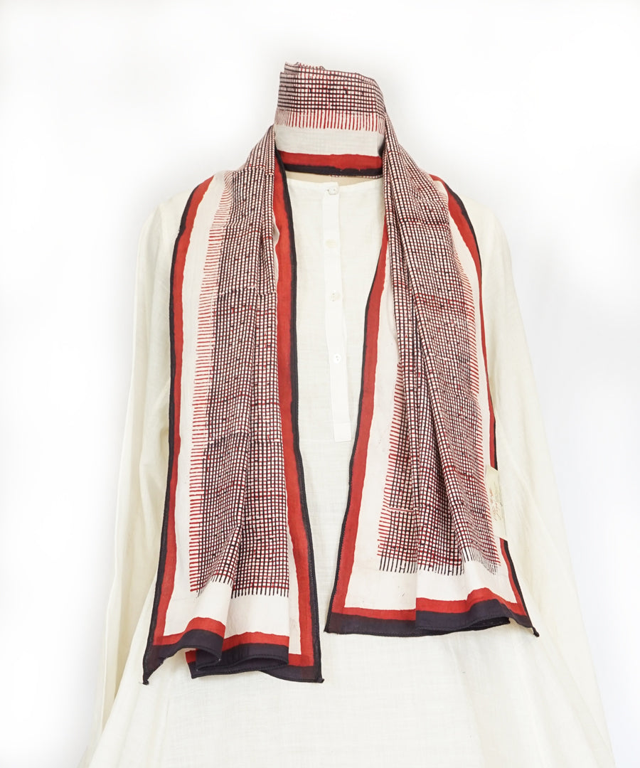 ABSTRACT - Black/Red/white Hand block printed Cotton Stole