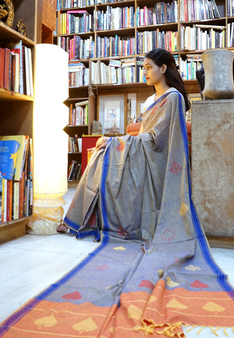 DIAMOND W/STRIPES-  ORANGE and OFF WHITE Handwoven Cotton Saree