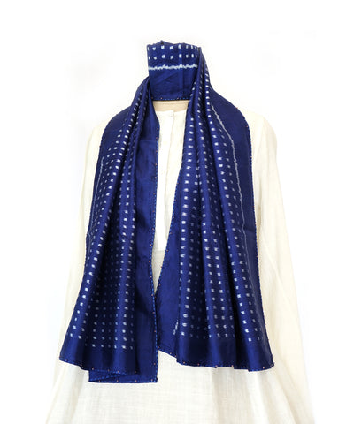 DOTS - BLUE Handwoven SILK STOLE