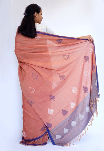 PEEPAL LEAF-   orange and blue Handwoven Cotton Saree