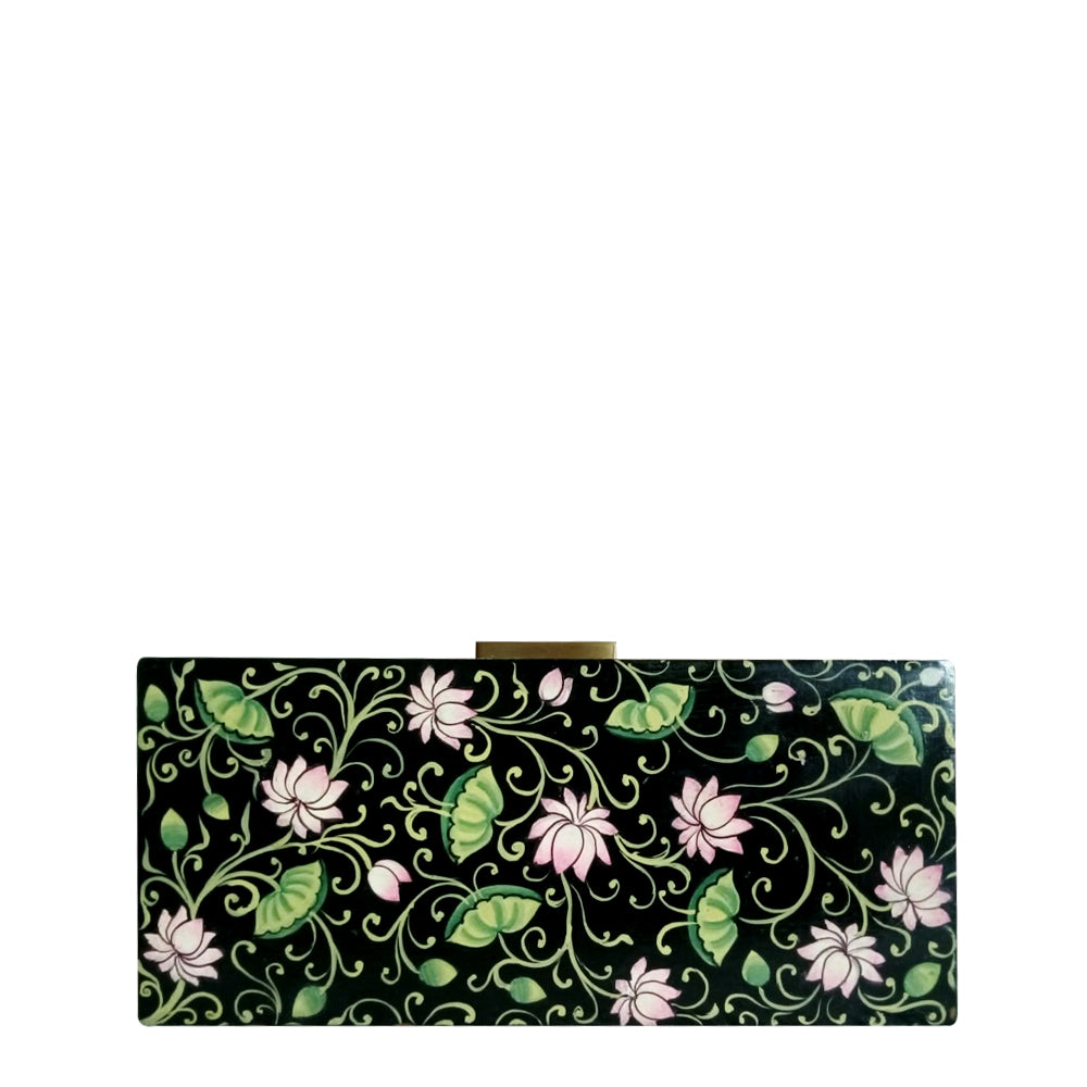 BE LIKE LOTUS , BLACK WOOD CLUTCH