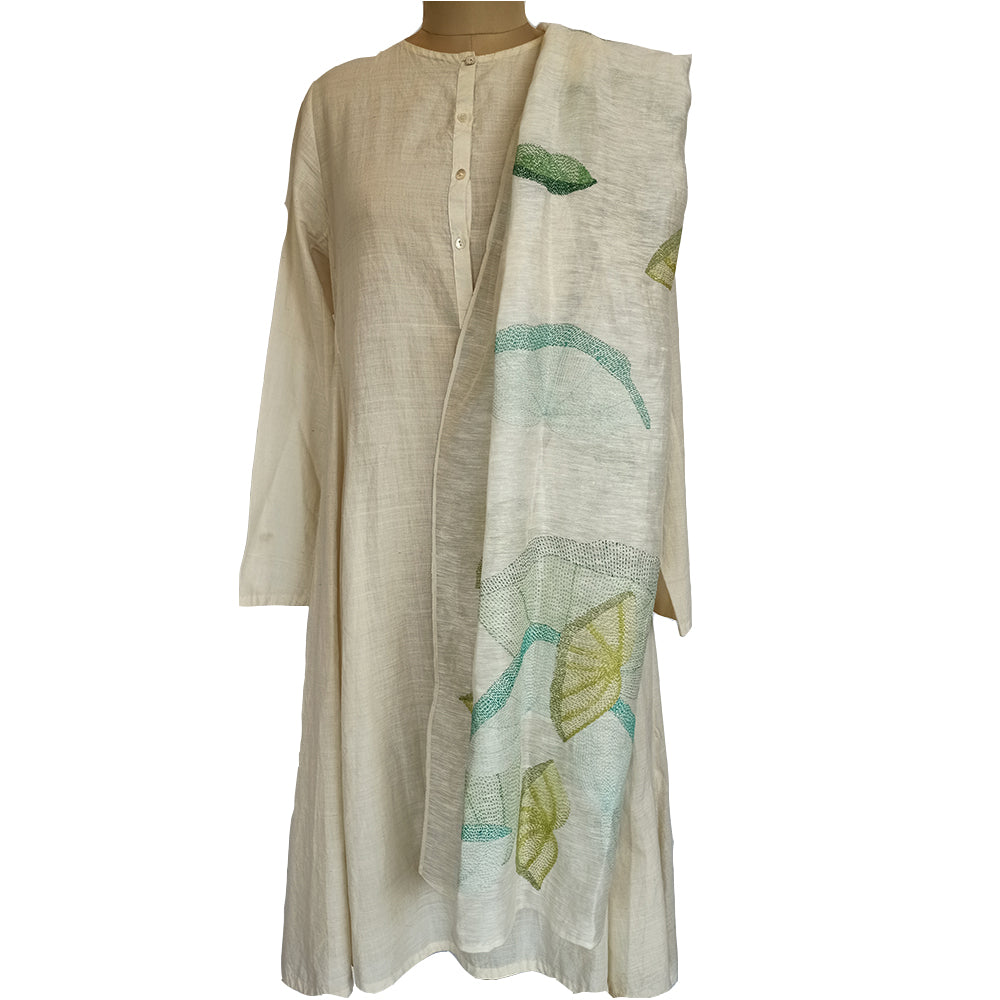 Lotus leaves, Sujani hand embroidered stole and mask combo