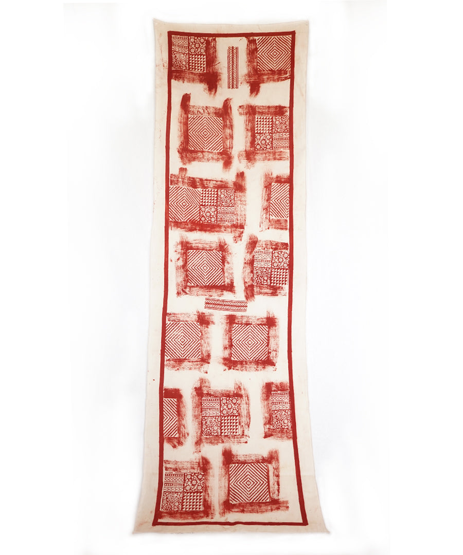 ABSTRACT - Red/white Hand block printed Cotton Stole