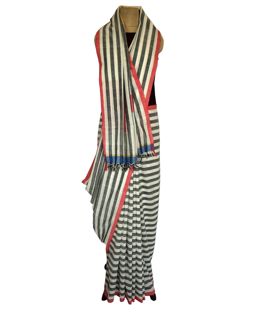 Square buti w/stripe-   grey and white Handwoven Cotton Saree