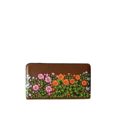 FLOWERS, TAN WALLET