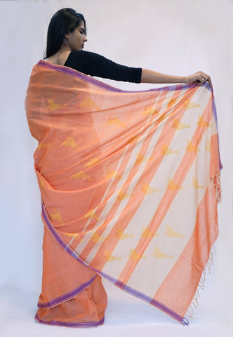 FLYING CRANE- Orange, Yellow buti Handwoven Cotton Saree