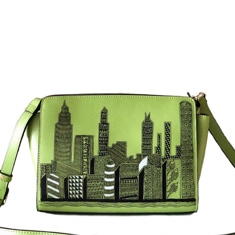 San Francisco , handpainted skyline on green crossbody