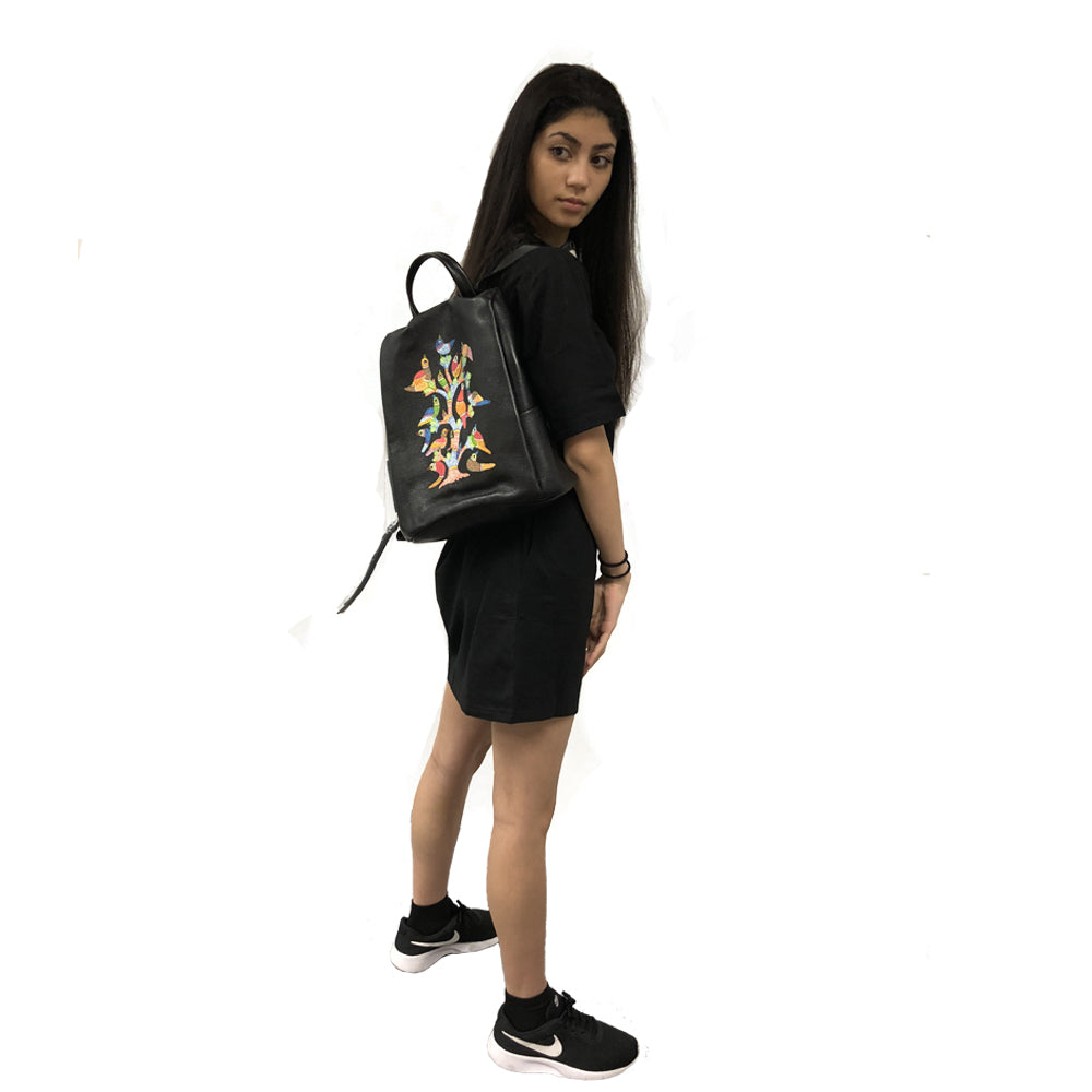 Peacocks Melody, Black Backpack