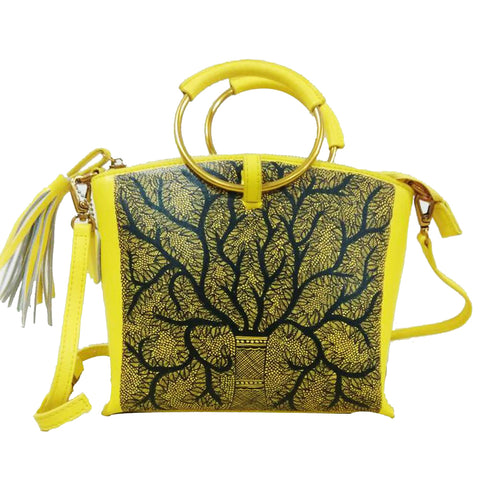 'Seeds of Love' handpainted yellow wristlet / sling