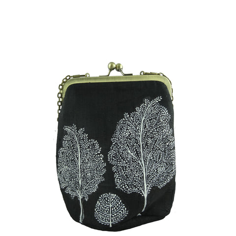 TREE OF LIFE, BLACK SILK CLUTCH