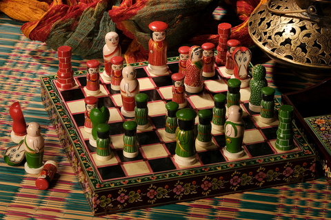 Chess Set (Large), handpainted in Ganjifa art style