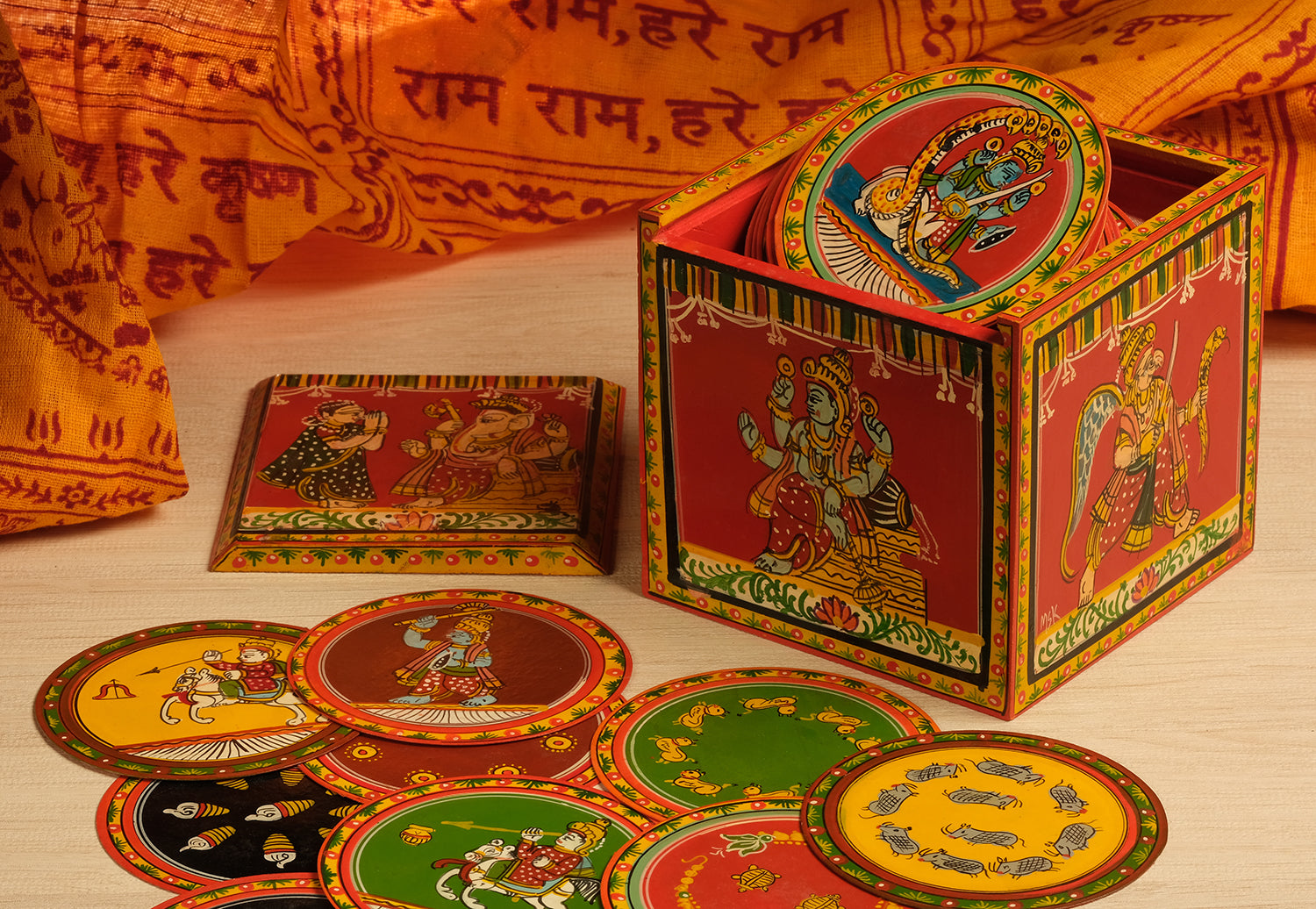 Dashavtar Ganjifa, set of 120 handpainted Ganjifa cards