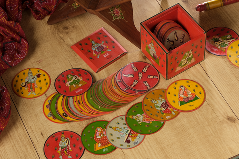 Indian Musical Ganjifa, set of 120 handpainted Ganjifa cards