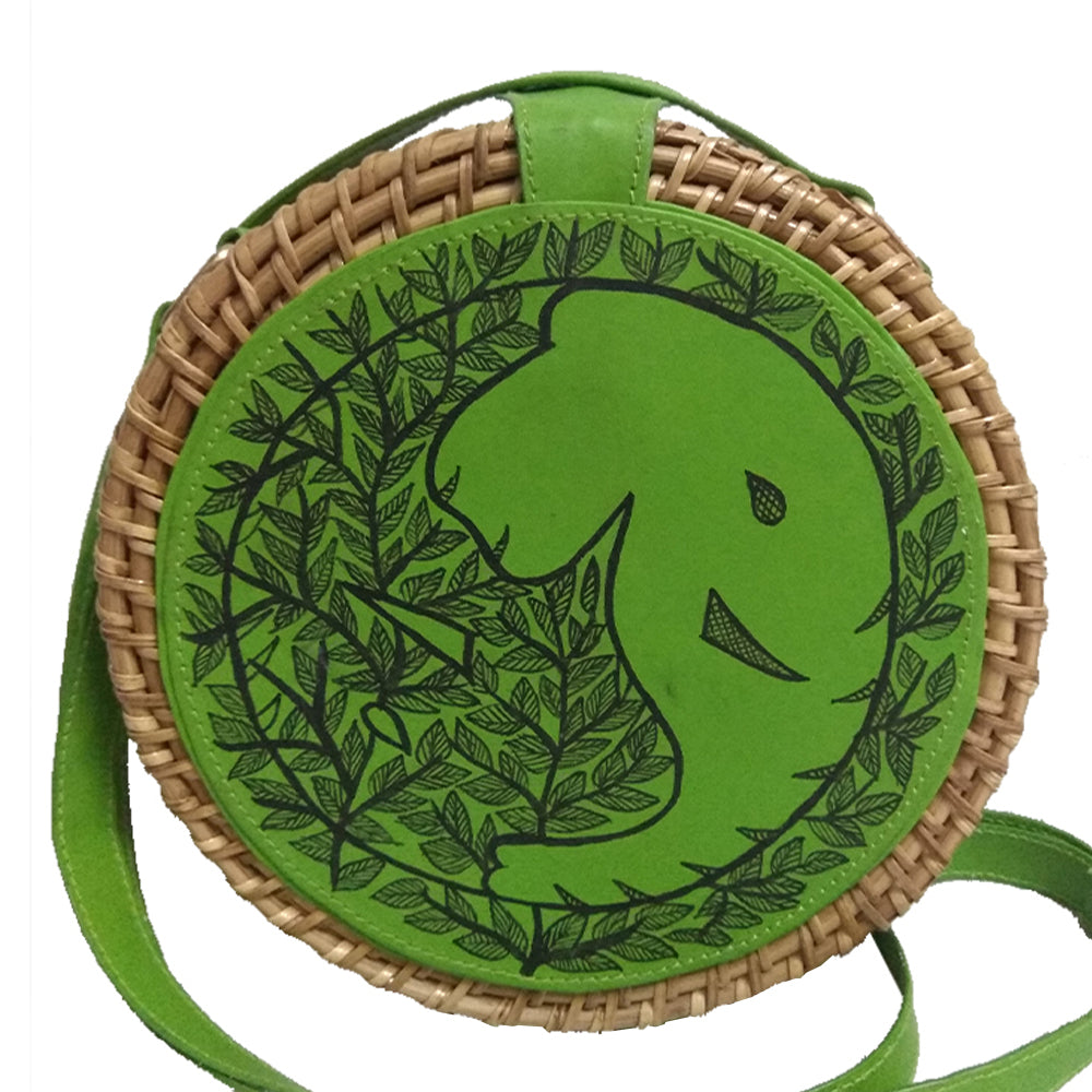 The Elephants Tale, Green Round Cane Sling