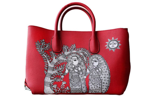 Red Leather Handbags, hand-painted genuine leather handbags, madhubani art | A Stroll Through the Spoken Forest