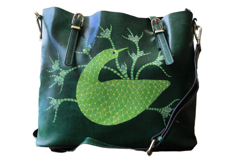 Never Alone | Hand-painted Leather Bags - Green Handbags |