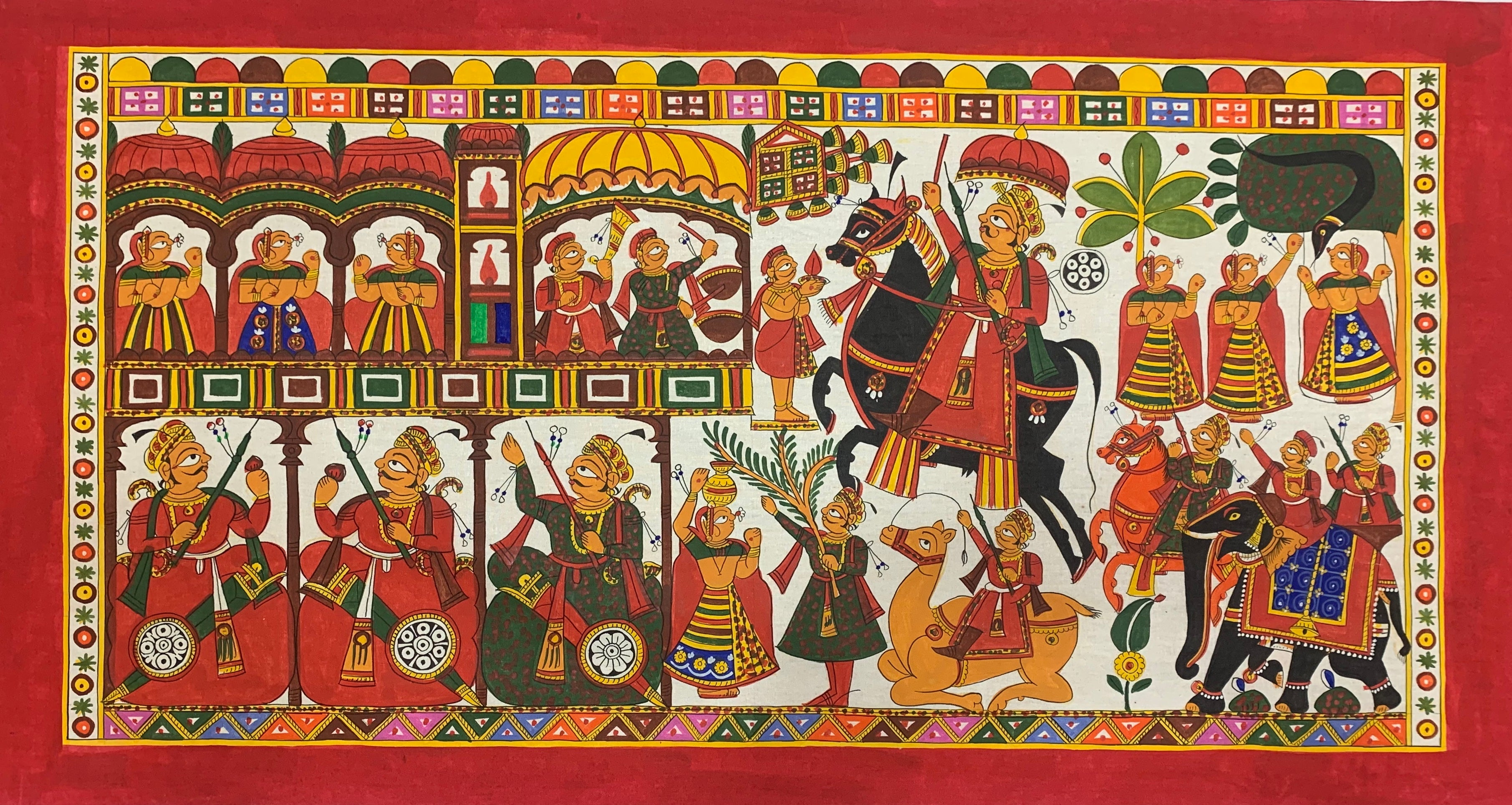 The Procession, Phad painting by Kalyan Joshi