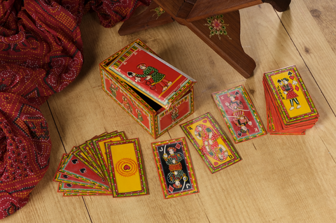Double Figure Playing Cards, handpainted Ganjifa cards