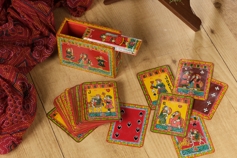 Indo - French Playing Cards, handpainted Ganjifa cards