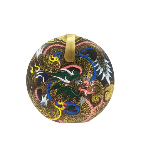 Where be Dragons, Round Wood Clutch, Black & Gold